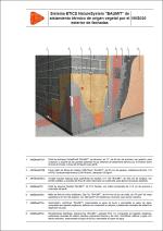 "Detalles constructivos. Sistema ETICS de aislamiento térmico de origen vegetal. Sistema ETICS NatureSystem ""BAUMIT"" de aislamiento térmico de origen vegetal por el exterior de fachadas."