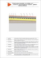 Detalle constructivo. QAB010. Cubierta plana transitable, no ventilada, con solado fijo, impermeabilización mediante láminas asfálticas