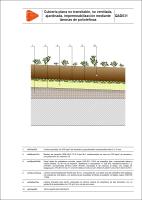 Detalle constructivo. QAD031. Cubierta plana no transitable, no ventilada, ajardinada, impermeabilización mediante láminas de poliolefinas