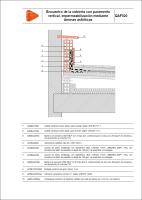 Detalle constructivo. QAF020. Encuentro de la cubierta con paramento vertical, impermeabilización mediante láminas asfálticas