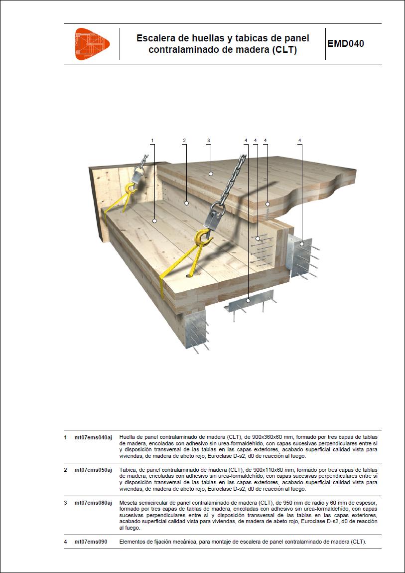 Detalles constructivos entramados de panel contralaminado for Plano escalera madera