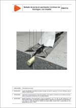 Detalles constructivos. Pavimentos industriales, juntas y sellados. Sellado de junta en pavimento continuo de hormigón, con masilla.