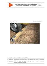Tope para protección de camiones durante la descarga en bordes de excavación