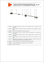 Línea de anclaje horizontal permanente, de cable de acero, con amortiguador de caídas