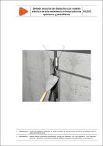 Sistemas de impermeabilización. Sellado de junta de dilatación con masilla elástica de alta resistencia a los productos químicos y petrolíferos